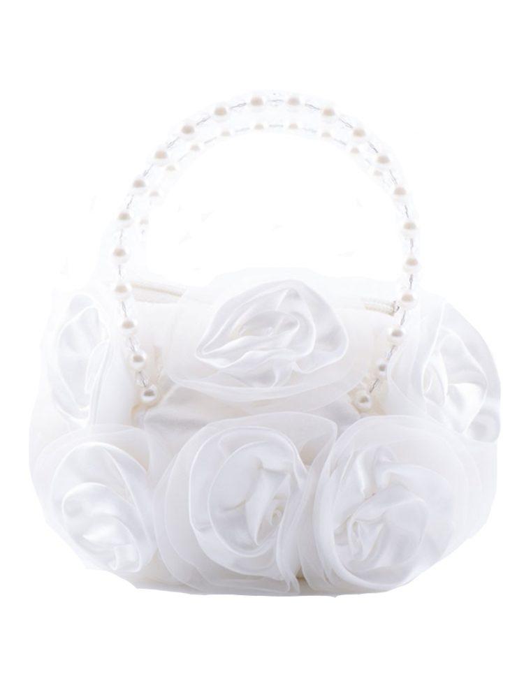 ivoor kleurig bruidsmeisjes tasje met rozen bloemen erop