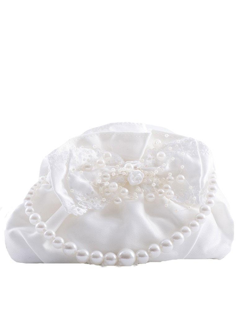 bruidsmeisjes tasje ivoor met parels