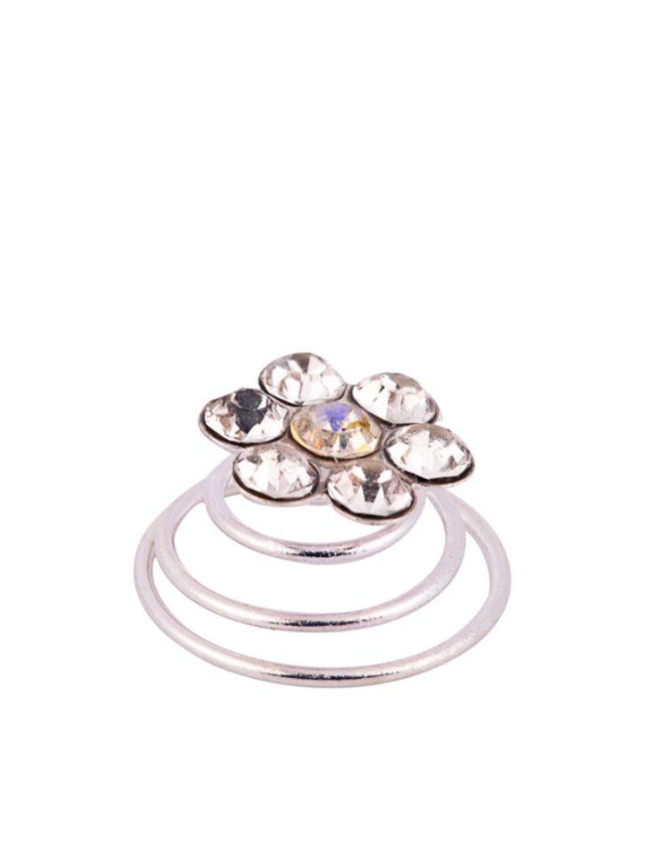 haarspiraal in bloem vorm zilver met stras