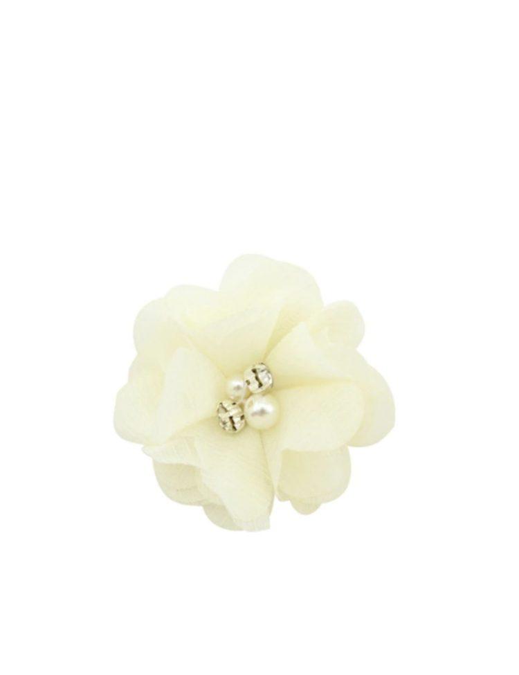 ivoor haarbloem met parels in het midden