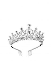 grote tiara voor kinderen in de kleur zilver met veel diamanten