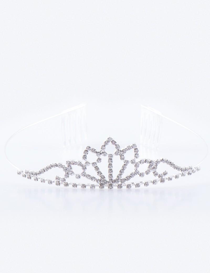 bruidsmeisjes tiara zilver is een klei kroontje met zilverkleurige stras steentjes