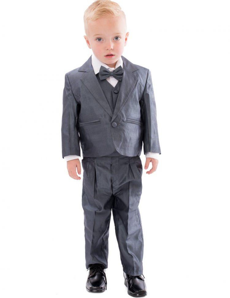 Baby kostuum Tom in de kleur midden grijs met glans