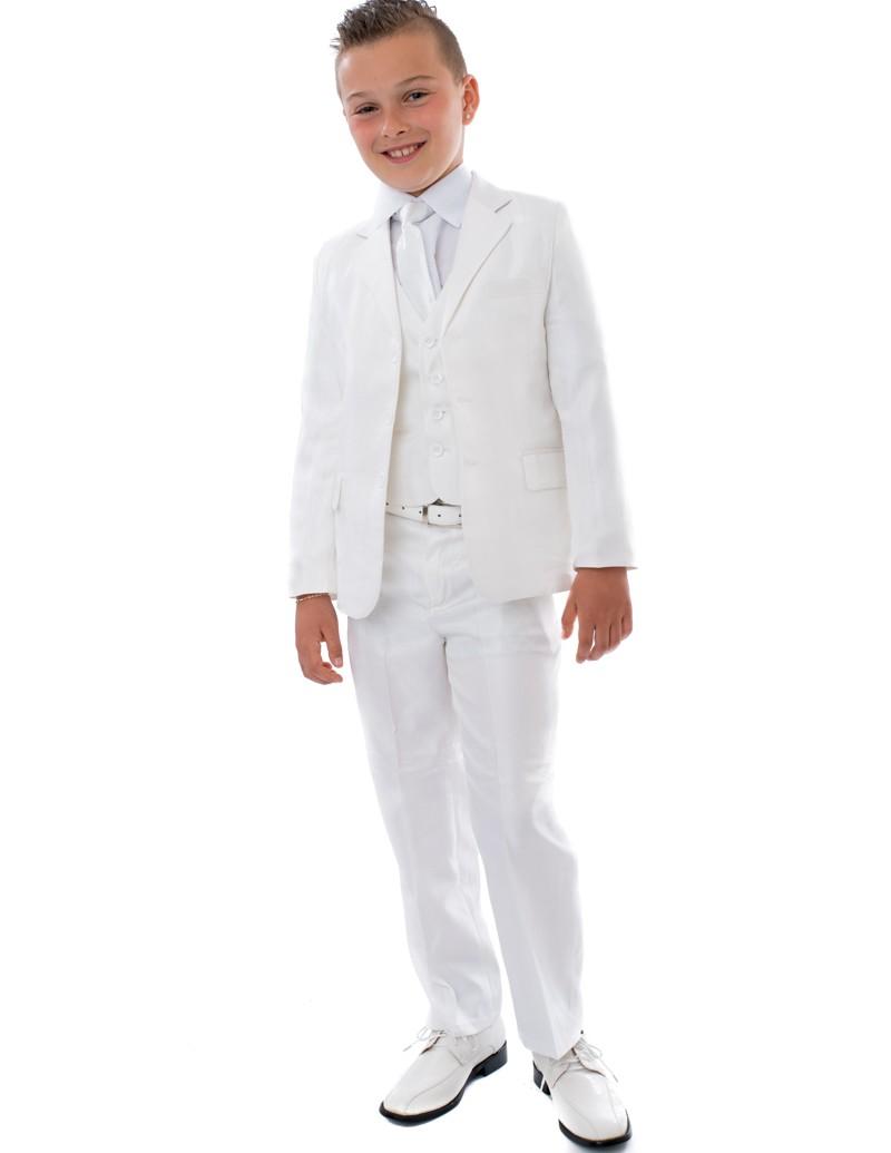 5-delig Kinder kostuum Dylano Wit. Inclusief broek, gilet, jasje, stropdas en wit overhemd