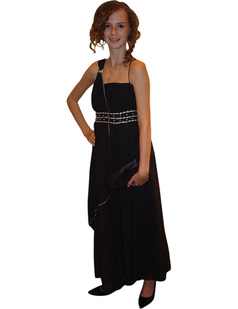 Lange kinder gala jurk in de kleur zwart