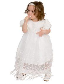bruidsmeisjes / doopjurk Chica lang model met pof mouwtjes