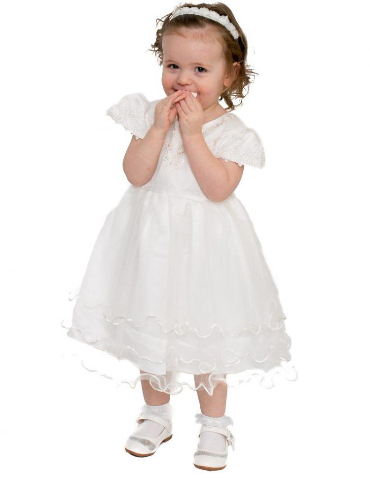 Baby bruidsmeisjes jurk Renate in de kleur ivoor met een kap mouwtje