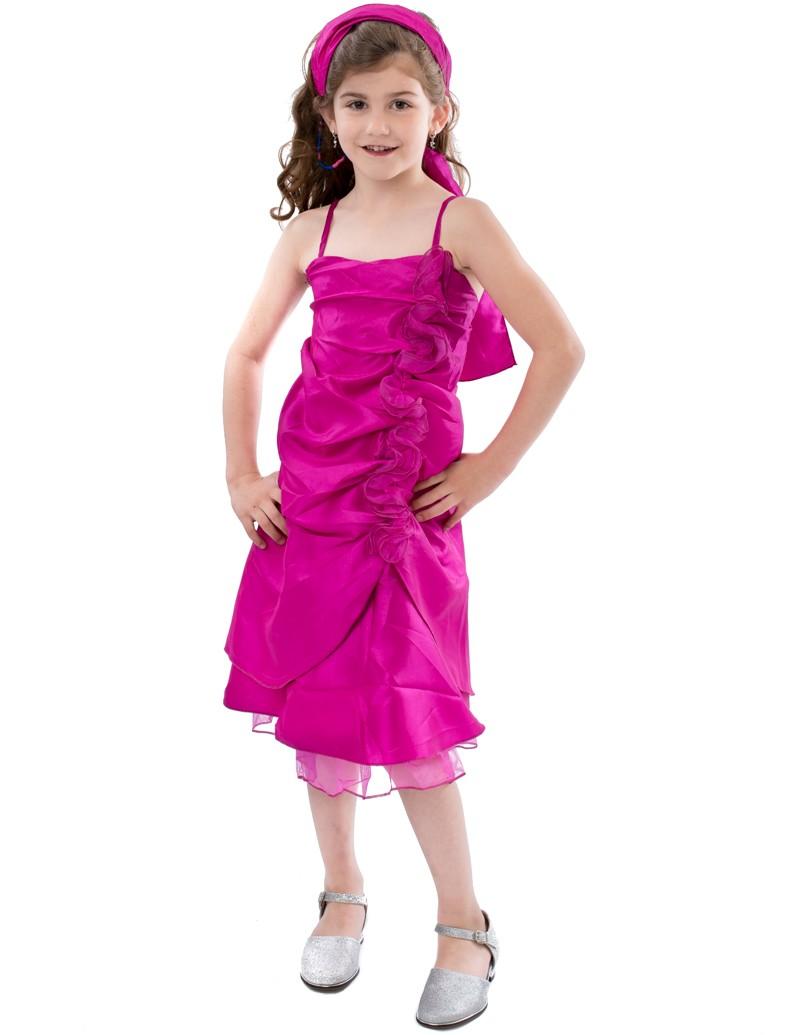 Bruidsmeisjes jurk Lola fuchsia roze is gemaakt van gladde stof de rok valt tot iets over de knie