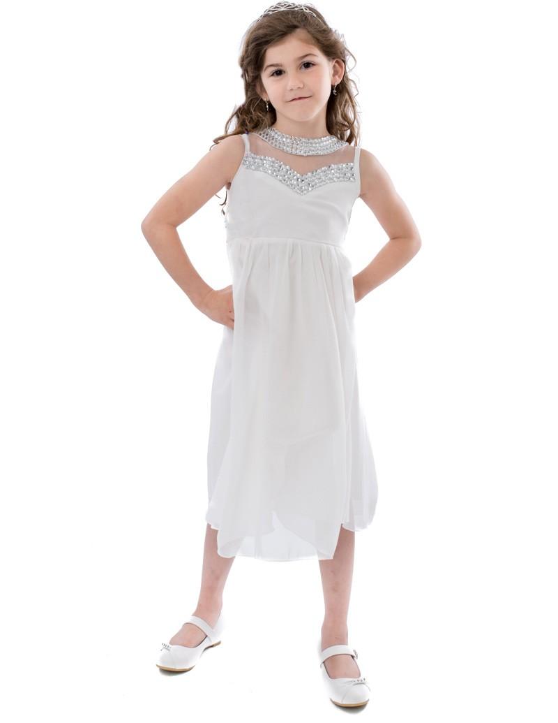 kinder gala jurk in het wit valt tot net over de knie