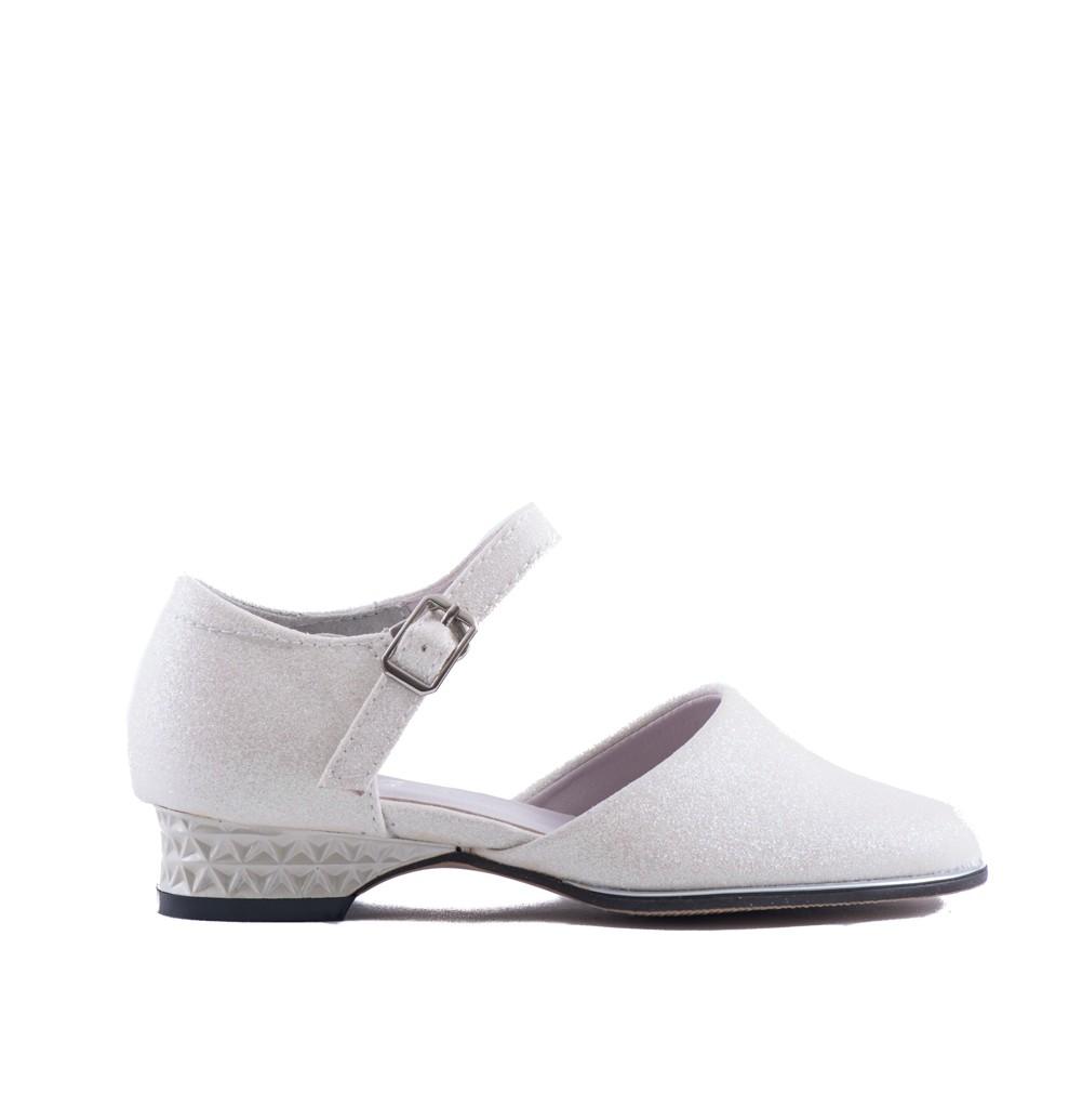 bruidsmeisjes schoen met ivoor kleurige glitter