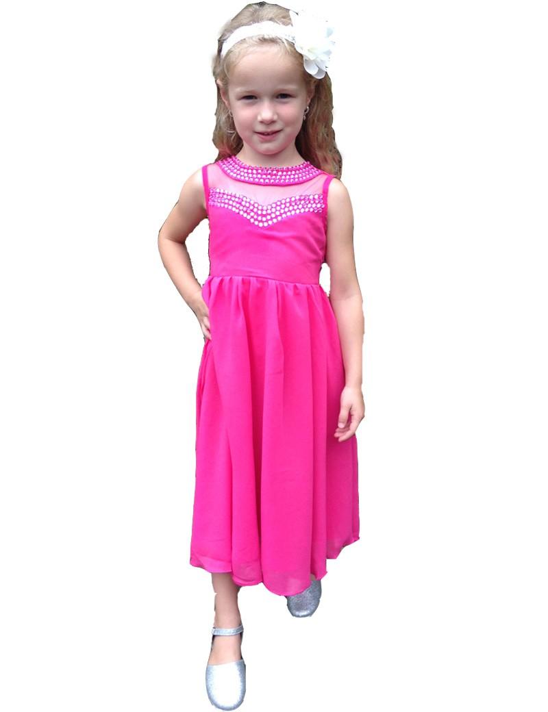 fuchsia roze kinder gala jurk