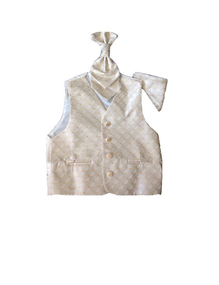 kinder gilet in de kelur beige met een plastron en pochet