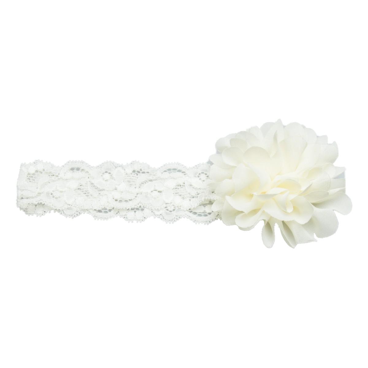 haarbandje met kante band en ivoor kleurige bloem