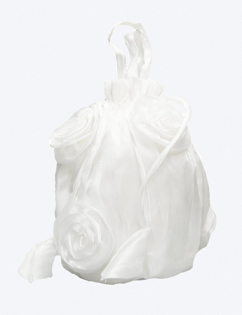 Bruidsmeisjes buideltasje met rozen in de kleur ivoor
