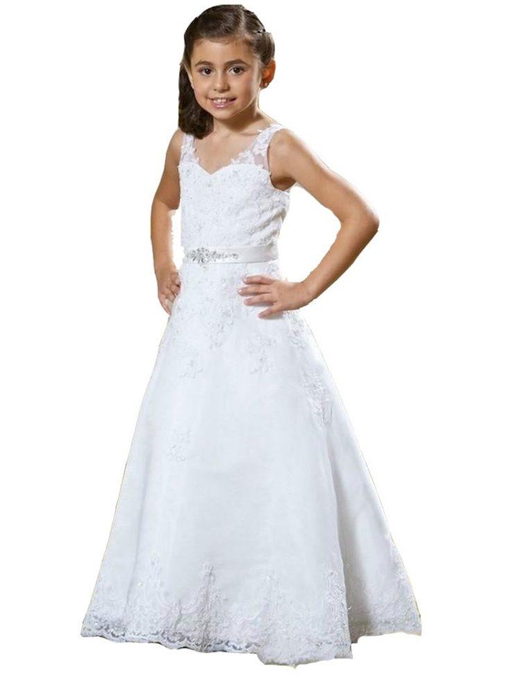 bruidsmeisjesjurk wendy met veel kant en pailletten. De rok is tot de grond