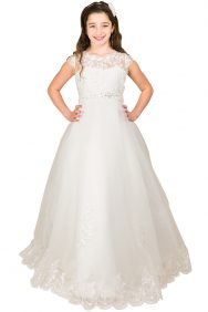 Mooie lange bruidsmeisjes jurk Lynn in de kleur ivoor. De jurk heeft veel kant