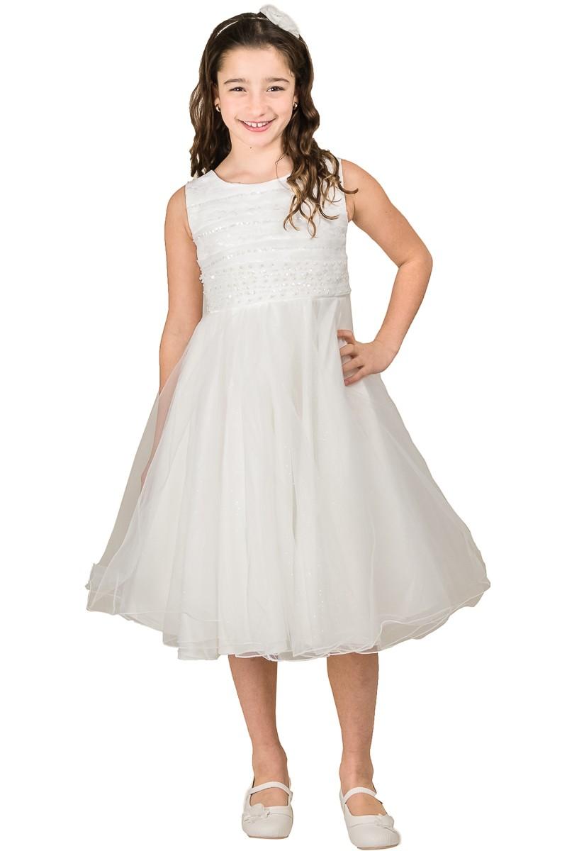 Mooie jurk in de kleur ivoor met wijde rok met glitters