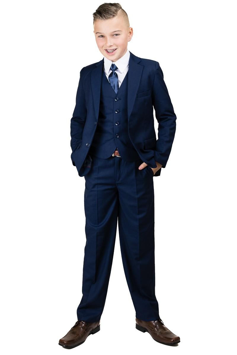 5-delig donker blauw communie kostuum inclusief broek, gilet, jasje, strikje en wit overhemd