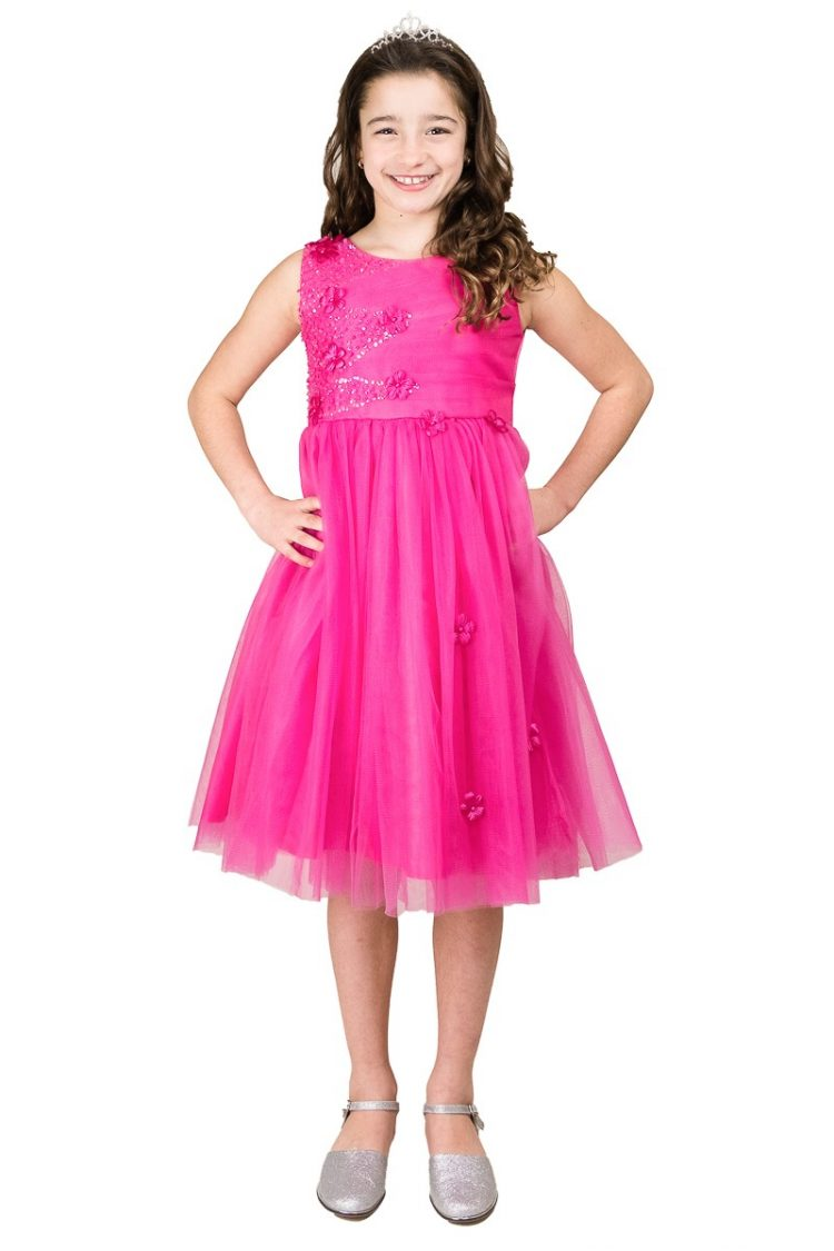 fuchsia roze jurk met tule rok