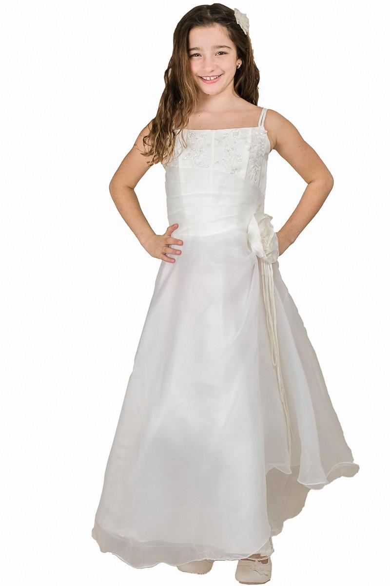 lange bruidsmeisjes jurk met organza rok en bloem op de zijkant