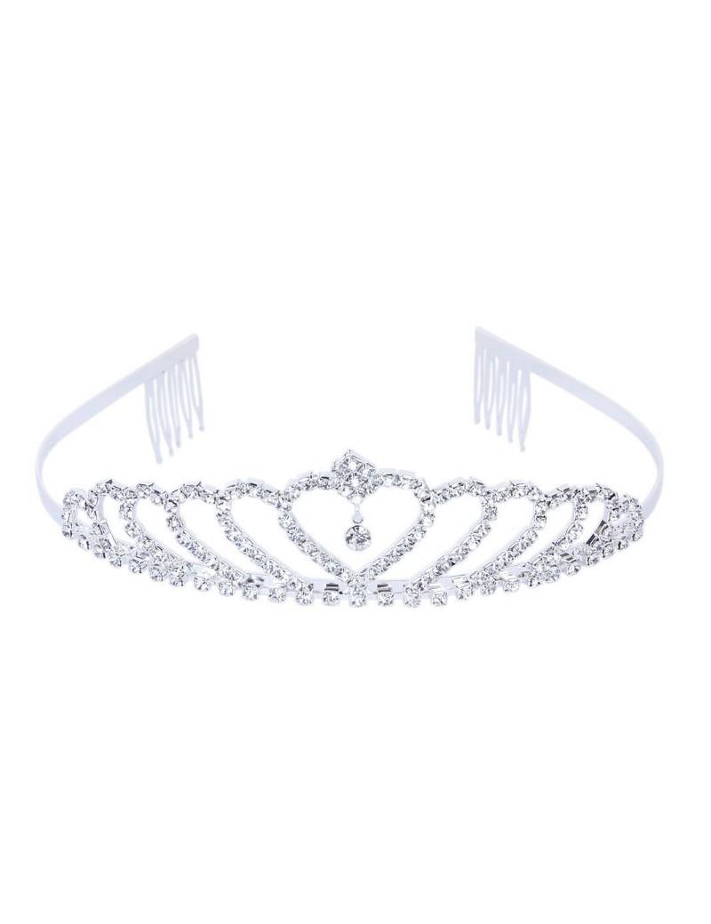 bruidsmeisjes tiara love in de kleur zilver met een hartje in het midden