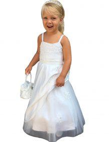 lange bruidsmeisjes jurk met spaghetti bandjes en kante top