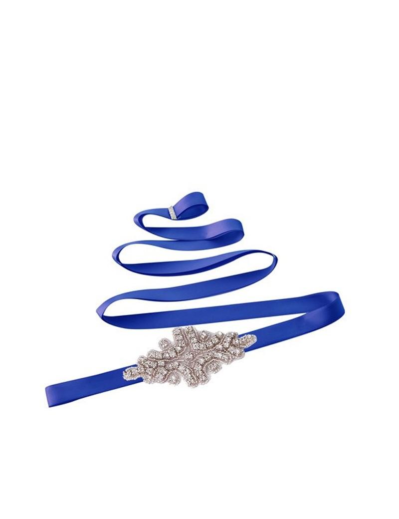 bruidsmeisjes riem in de kleur blauw met diamant midden stuk