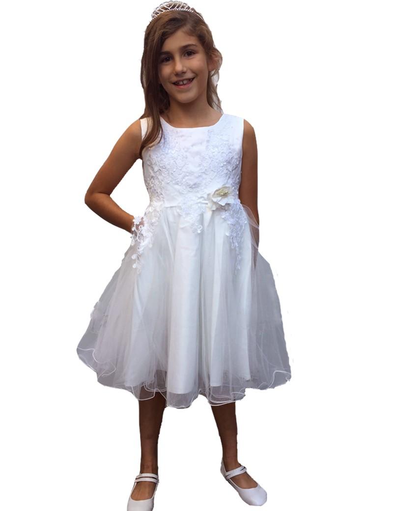 jurk tot aan de knie met tule rok. Kleur ivoor