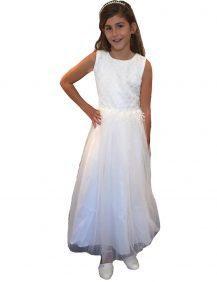 bruidsmeisjes jurk ivoor met tule rok de lengte is tot ongeveer de kuiten