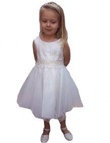 bruidsmeisjes jurk in de kleur ivoor met wijde tule rok. De rok valt net over knie