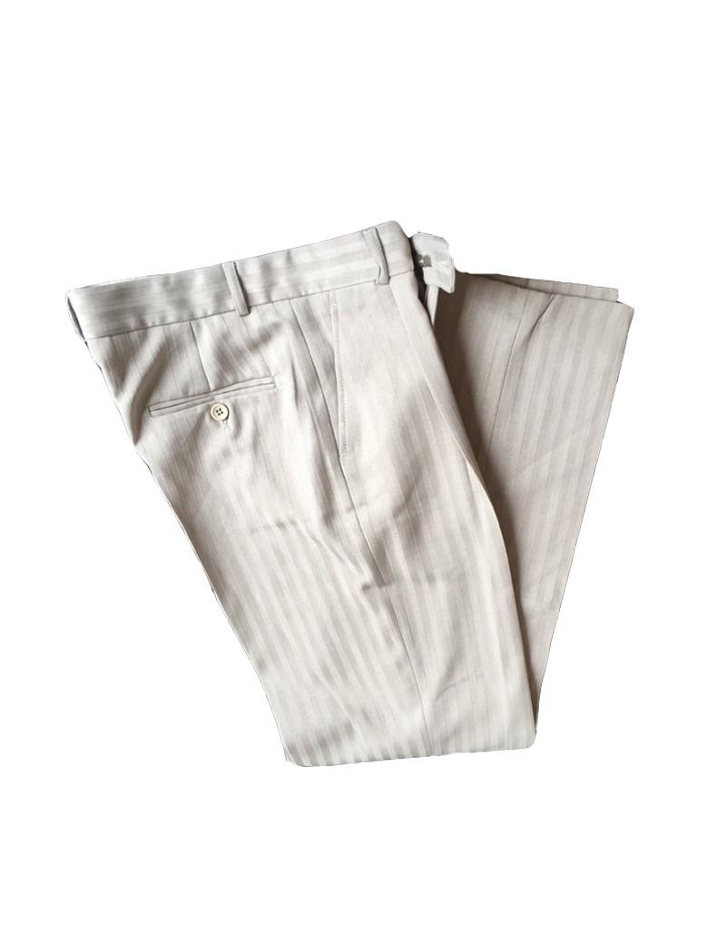 beige pantalon broek met glanzend streepje