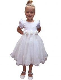 ivoor kleurige bruidsmeisjes jurk met een pof mouwtje en tule rok.