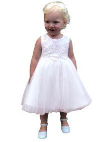 baby bruidsmesjesjurkje met borduurt bovenlijfje en tule rok