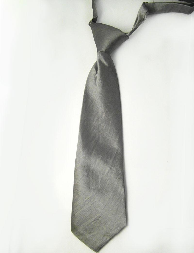 Bruidsjonkers stropdas effen in de kleur grijs