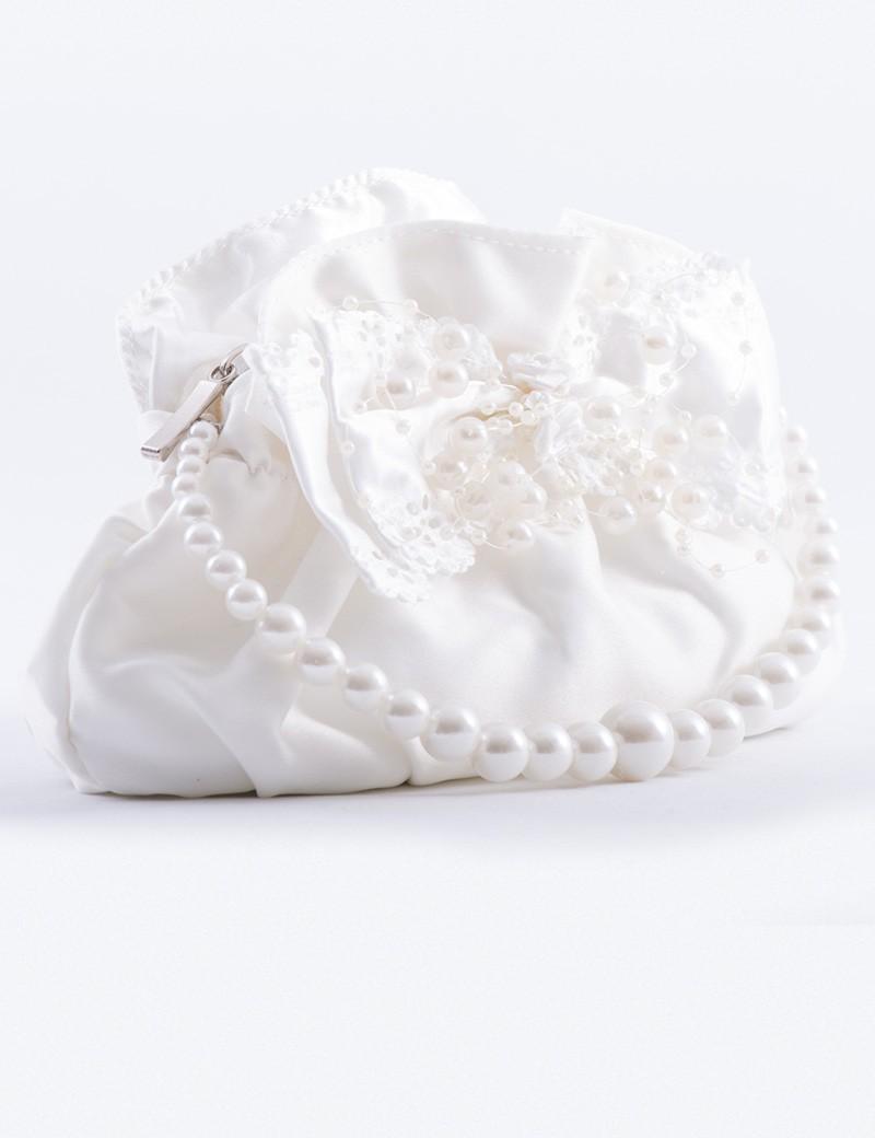 Bruidsmeisjes tasje Pearl met parel handvat