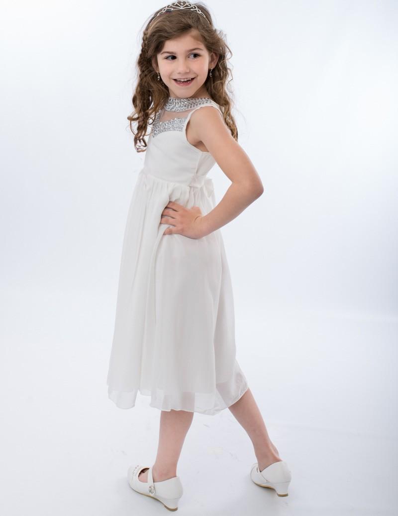 witte bruidsmeisjes jurk met soepel vallende rok