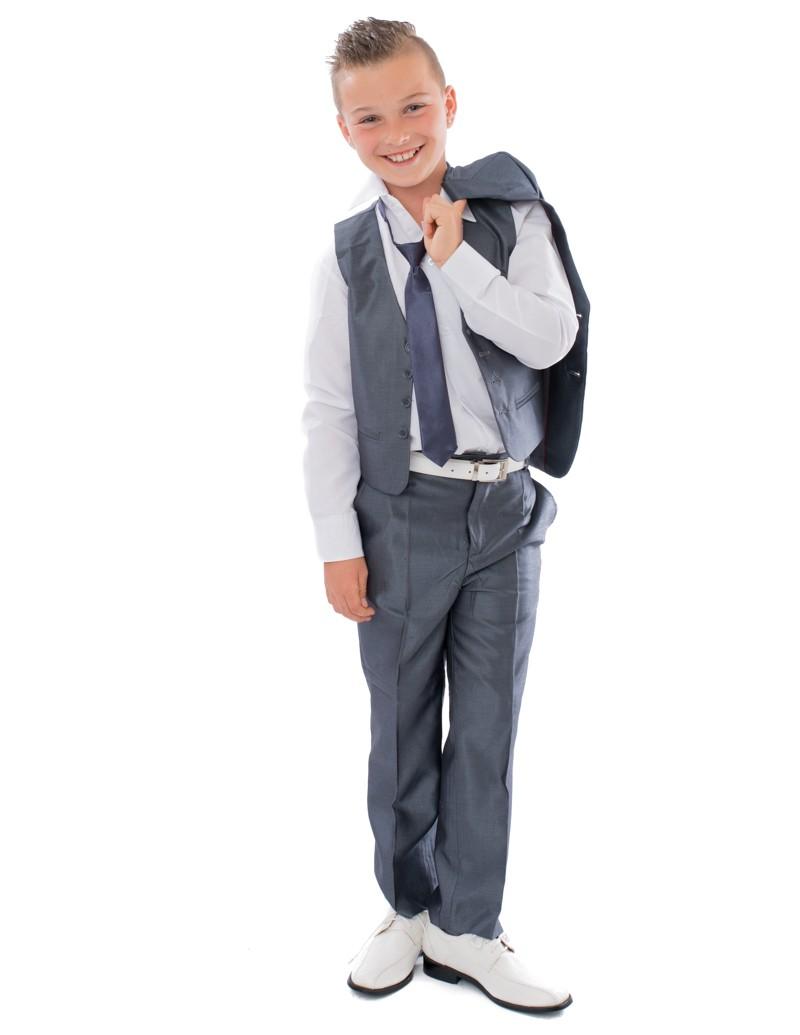 Bruidsjonker / Communie Kostuum Tom in de kleur midden grijs met glans