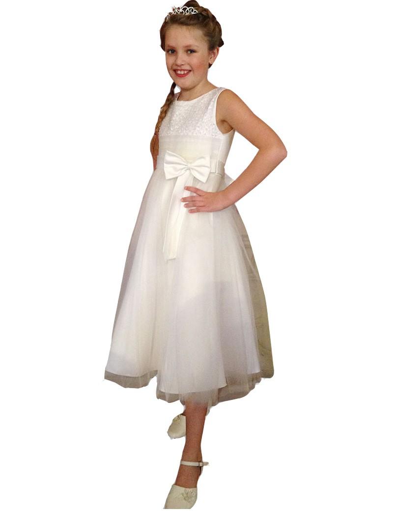 bruidsmeisjes jurk Elise met een tule rok en een strik op de middel