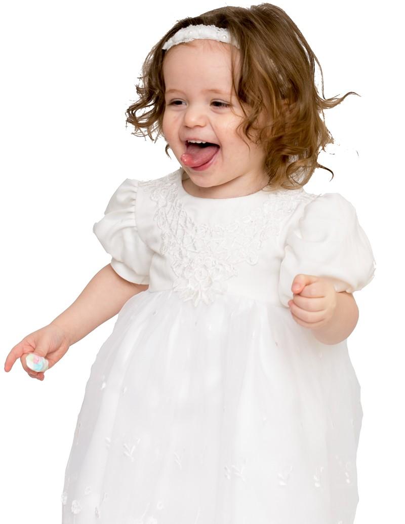 Bruidsmeisjes jurk chica geborduurde bovenkant en pofmouwen