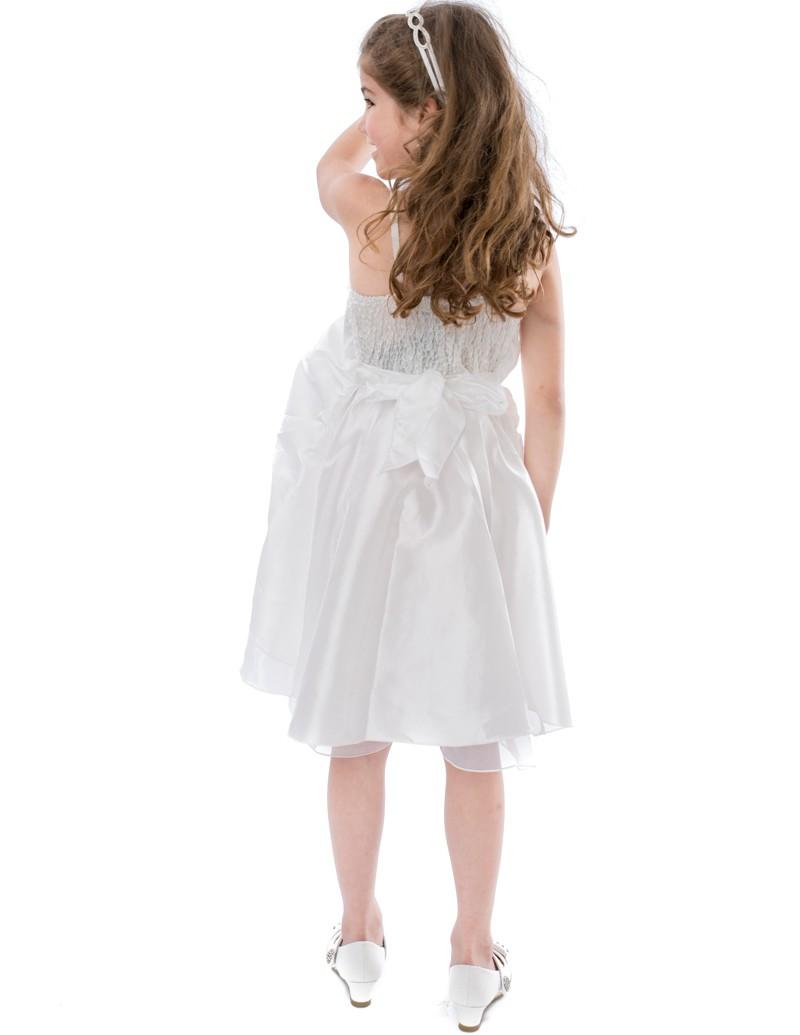 Achterkant Bruidsmeisjes jurk Lola met ritssluiting en klein stukje elastiek op de rug.