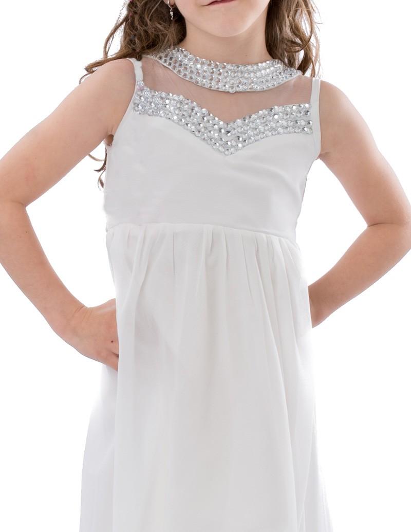 Bruidsmeisjes jurk in de kleur wit met diamanten top