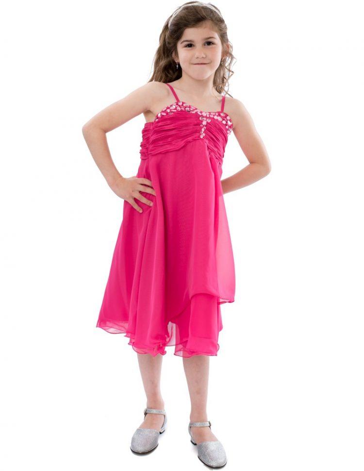 Gala feestjurk Anouk in de kleur Fuchsia met speels vallende rok tot over de knie