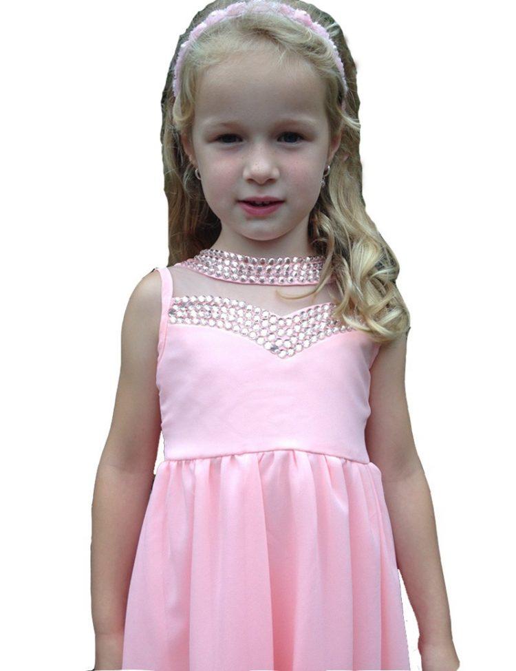 Bruidsmeisjes jurk Bo roze met diamanten op de top