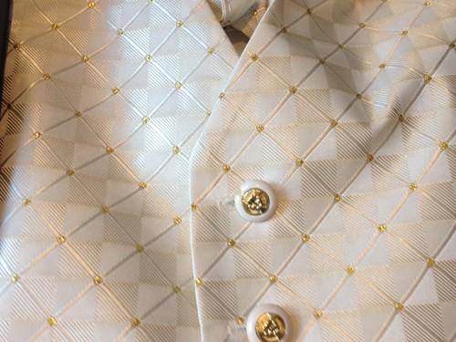 close up jongens gilet beige met gouden stipjes en knopen
