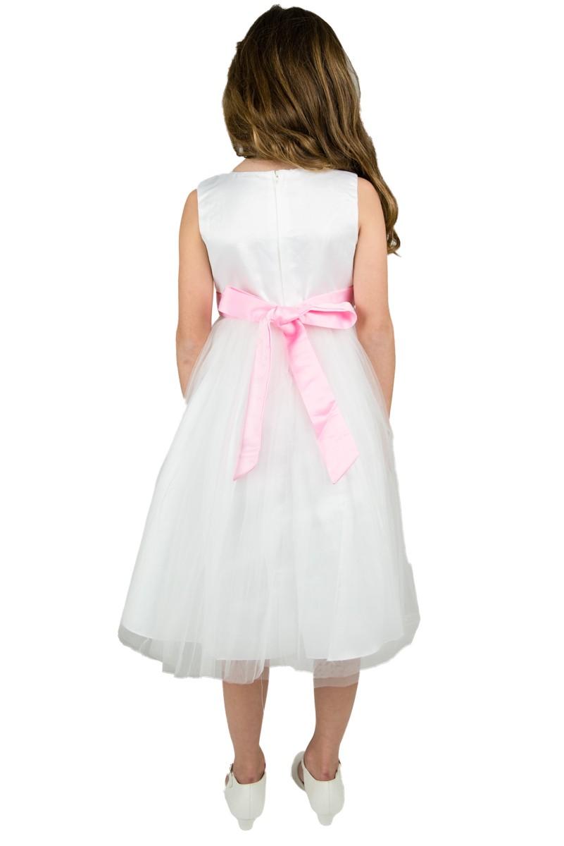 achterkant bruidsmeisjesjurk Emma met roze strik op de rug