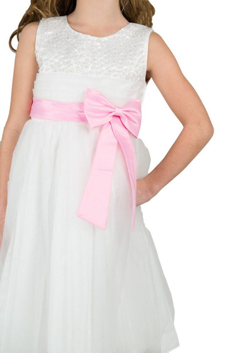 bruidmeisjesjurkje emma close up roze strik