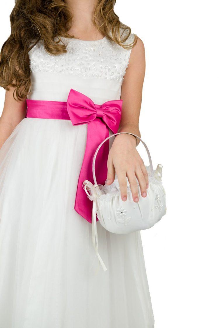 fuchsia roze strik op jurk Angela