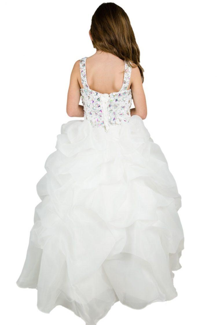 achterkant bruidsmeisjesjurk Cindy met vetersluiting