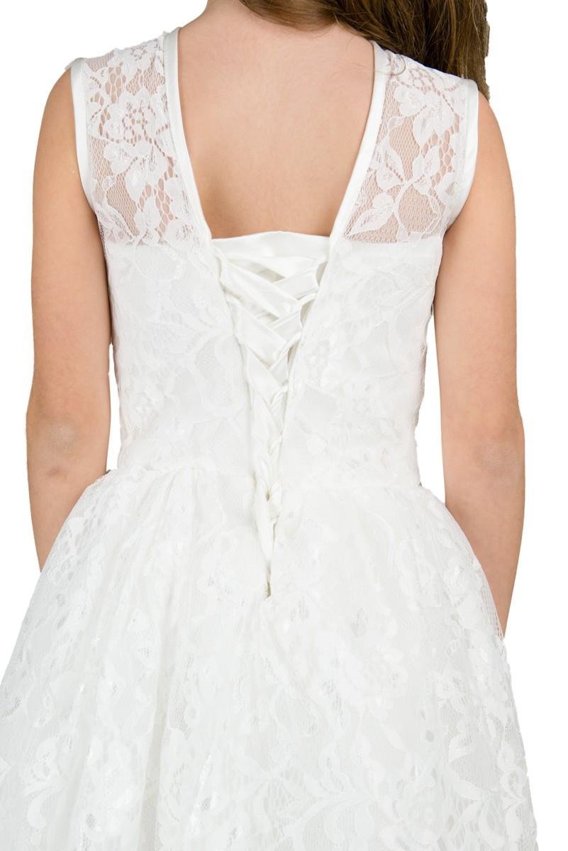 achterkant jurk Patricia met een vetersluiting