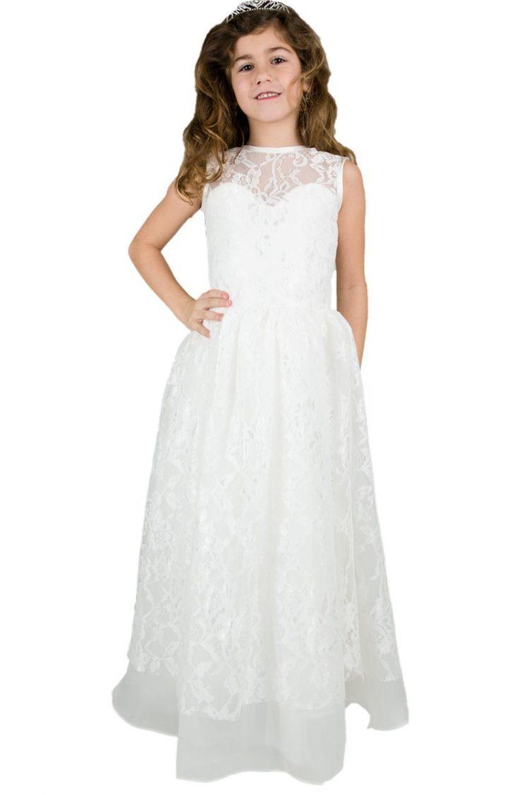 Lange breimeisjes jurk helemaal van kant